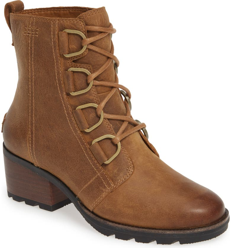 SOREL Cate Waterproof Lace-Up Boot, Main, color, ELK LEATHER