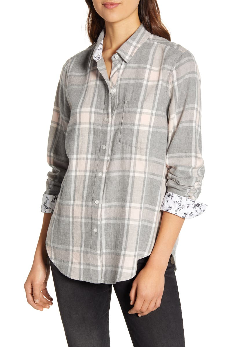 LUCKY BRAND Classic Plaid Shirt, Main, color, GREY MULTI
