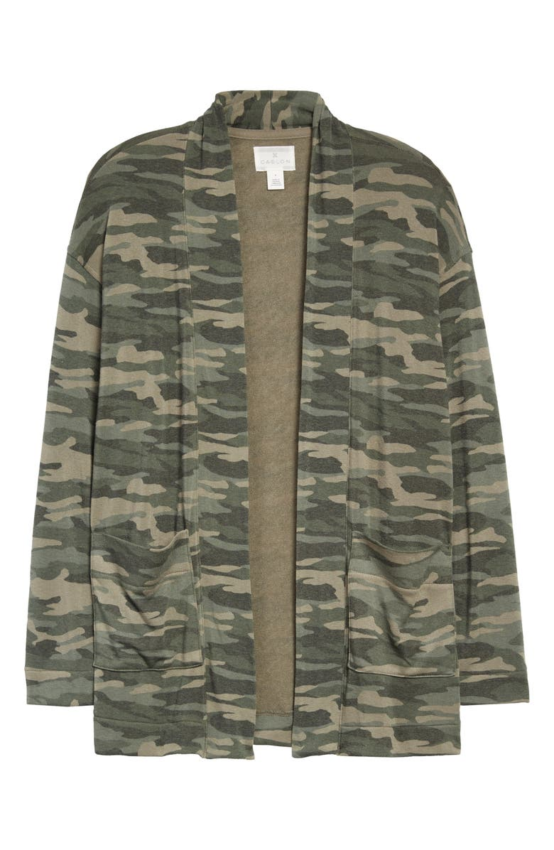 CASLON<SUP>®</SUP> Open Front Cardigan, Main, color, OLIVE FADED CAMO PRINT