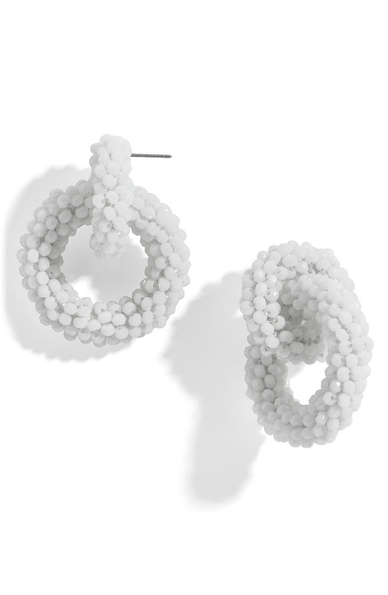 BAUBLEBAR Farida Beaded Hoop Earrings, Main, color, WHITE