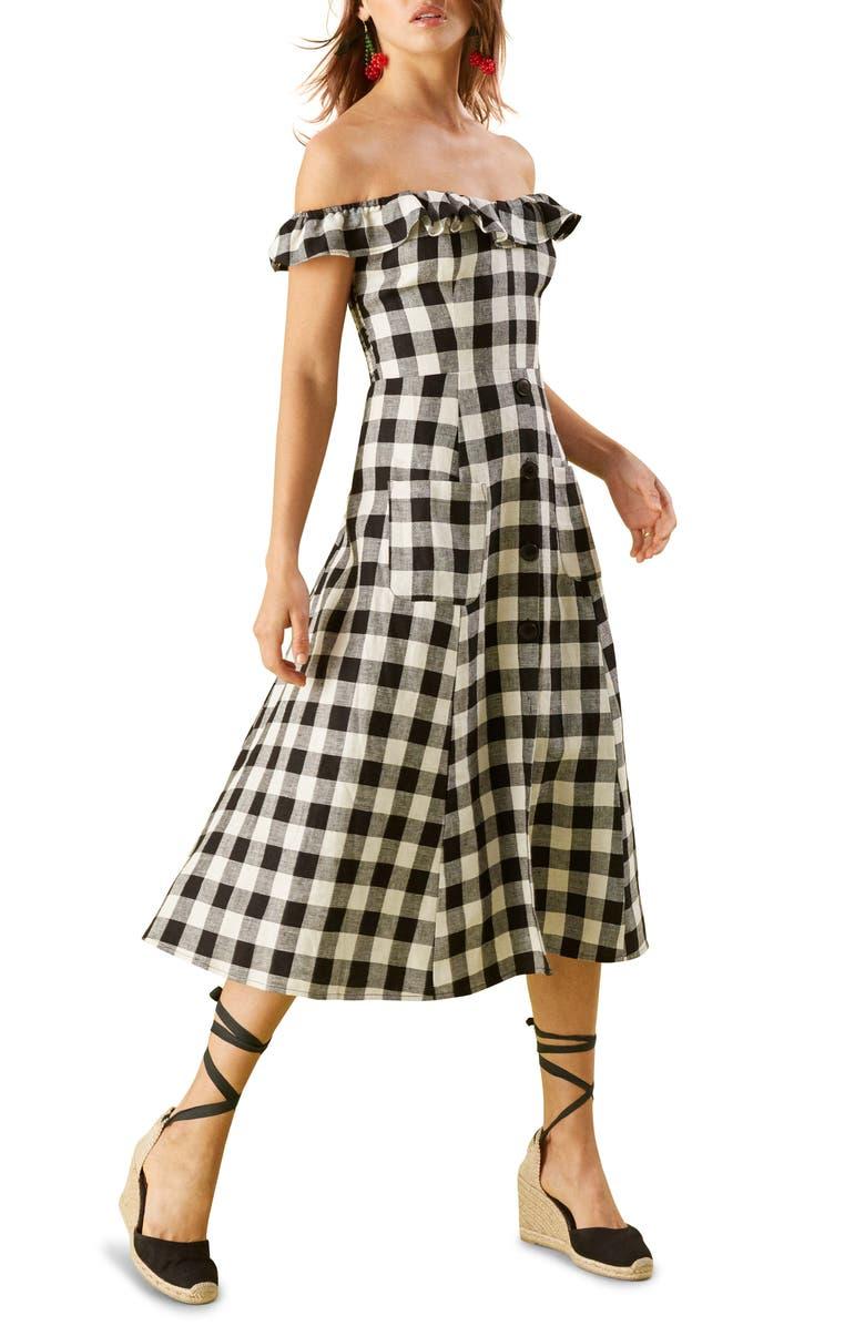 REFORMATION Hattie Off the Shoulder Linen Dress, Main, color, 001