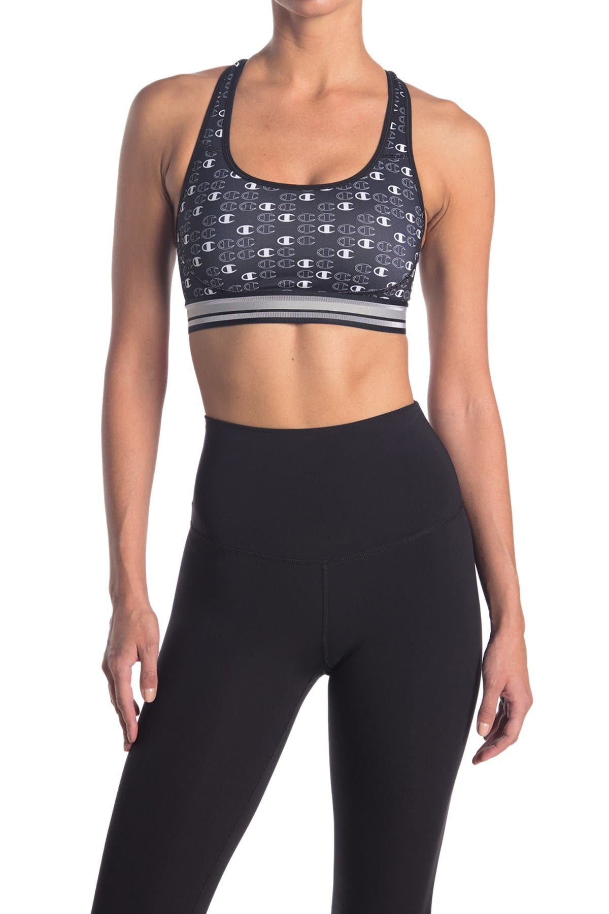 Image of Champion Absolute Workout Logo Print Compression Sports Bra