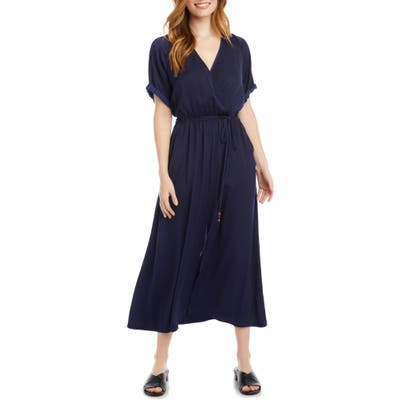 Karen Kane Cuffed Sleeve Midi Dress, Blue
