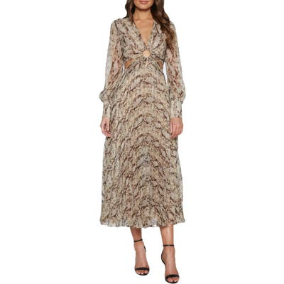 Bardot Snakeskin Print Long Sleeve Ring Detail Cocktail Dress, Beige