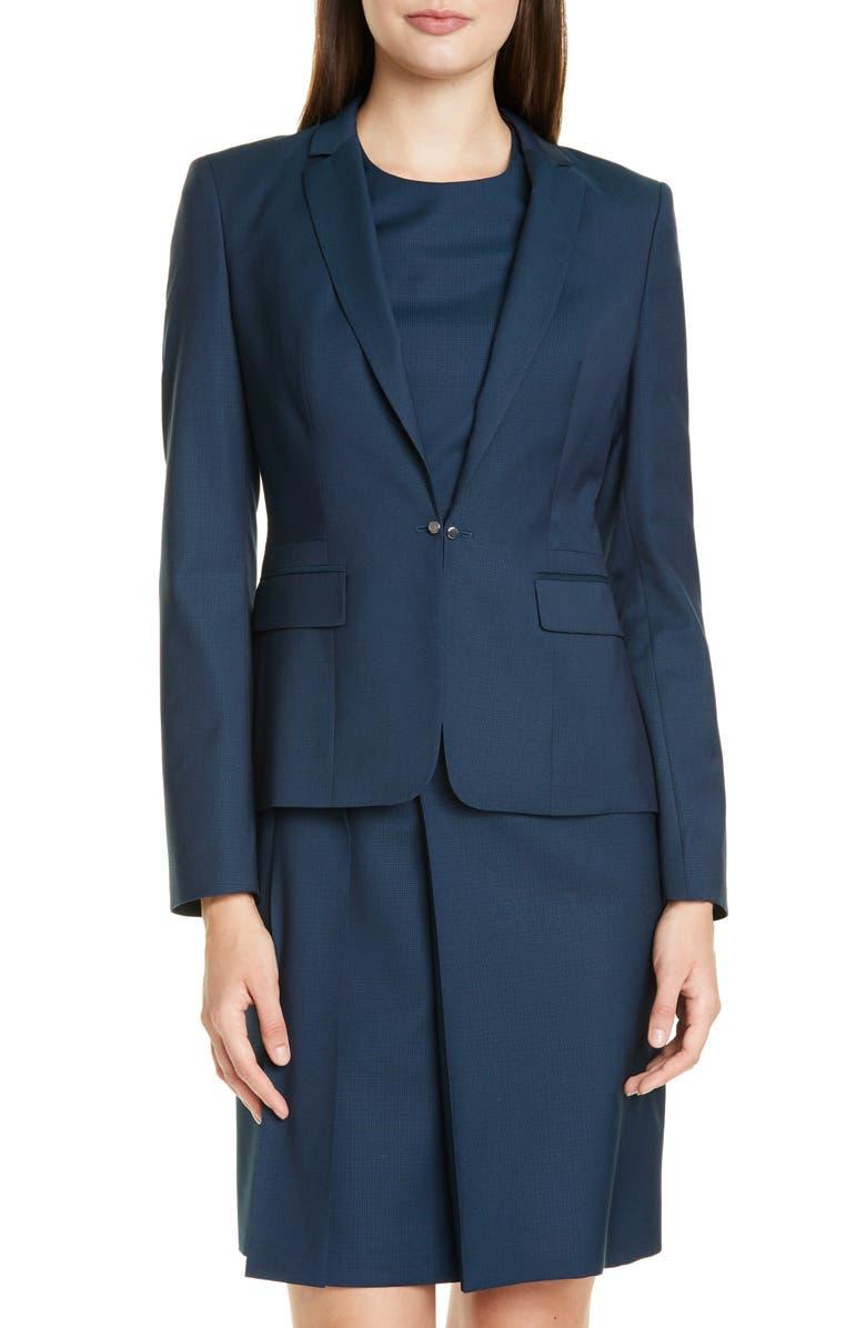 BOSS Jaflink Wool Suit Jacket, Main, color, NAVY FANTASY