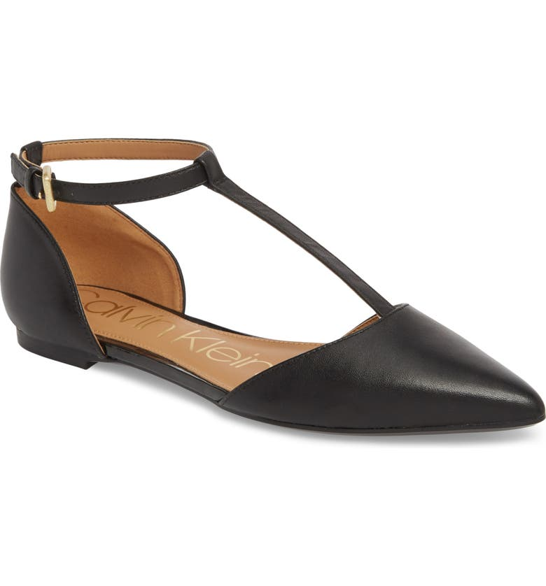 CALVIN KLEIN 'Ghita' T-Strap Flat, Main, color, BLACK LEATHER
