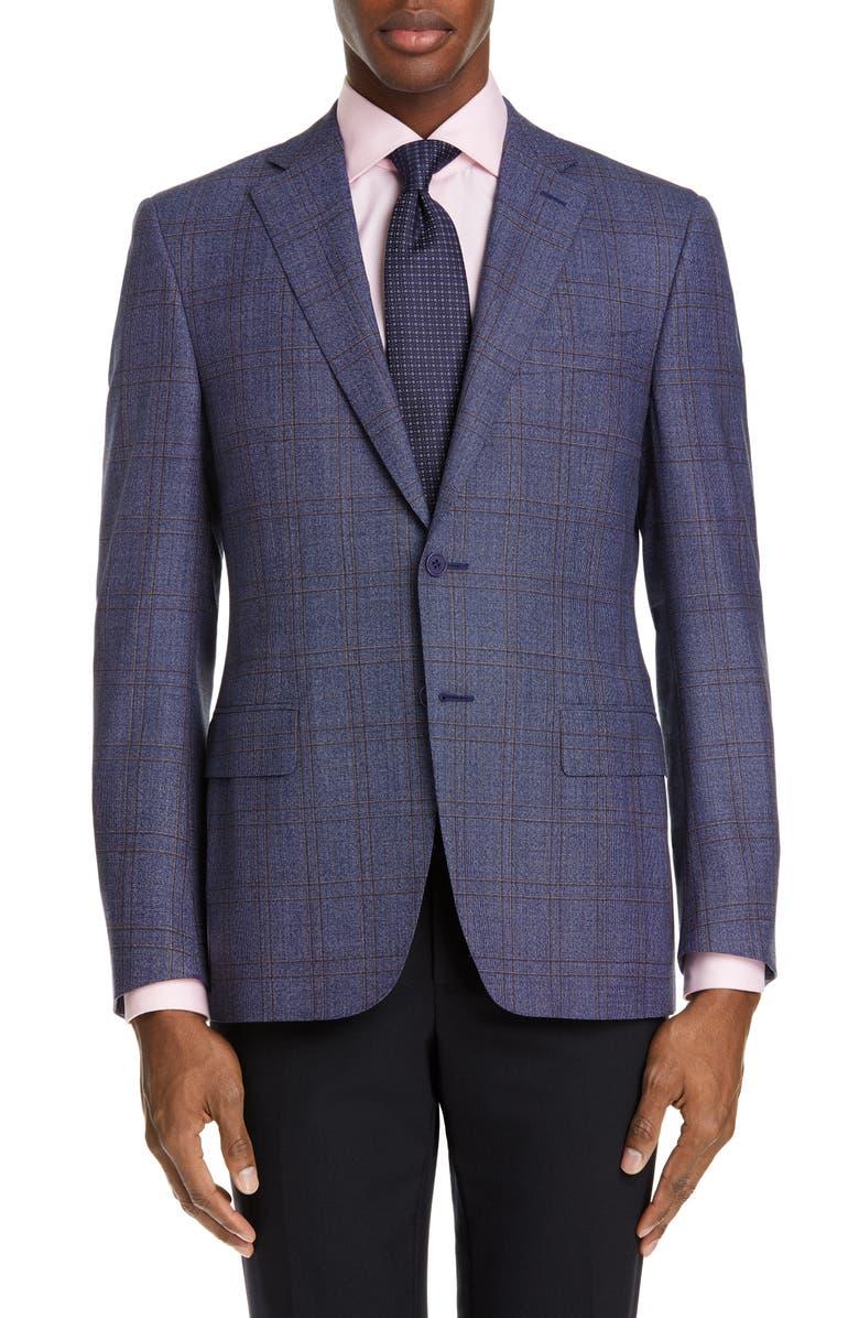 Canali Siena Soft Classic Fit Windowpane Wool Sport Coat