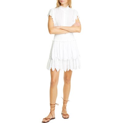 La Vie Rebecca Taylor Smocked Cotton Eyelet Dress, White