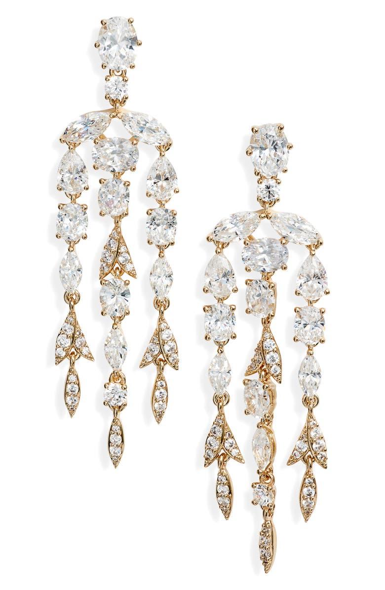 NADRI Chandelier Drop Earrings, Main, color, GOLD