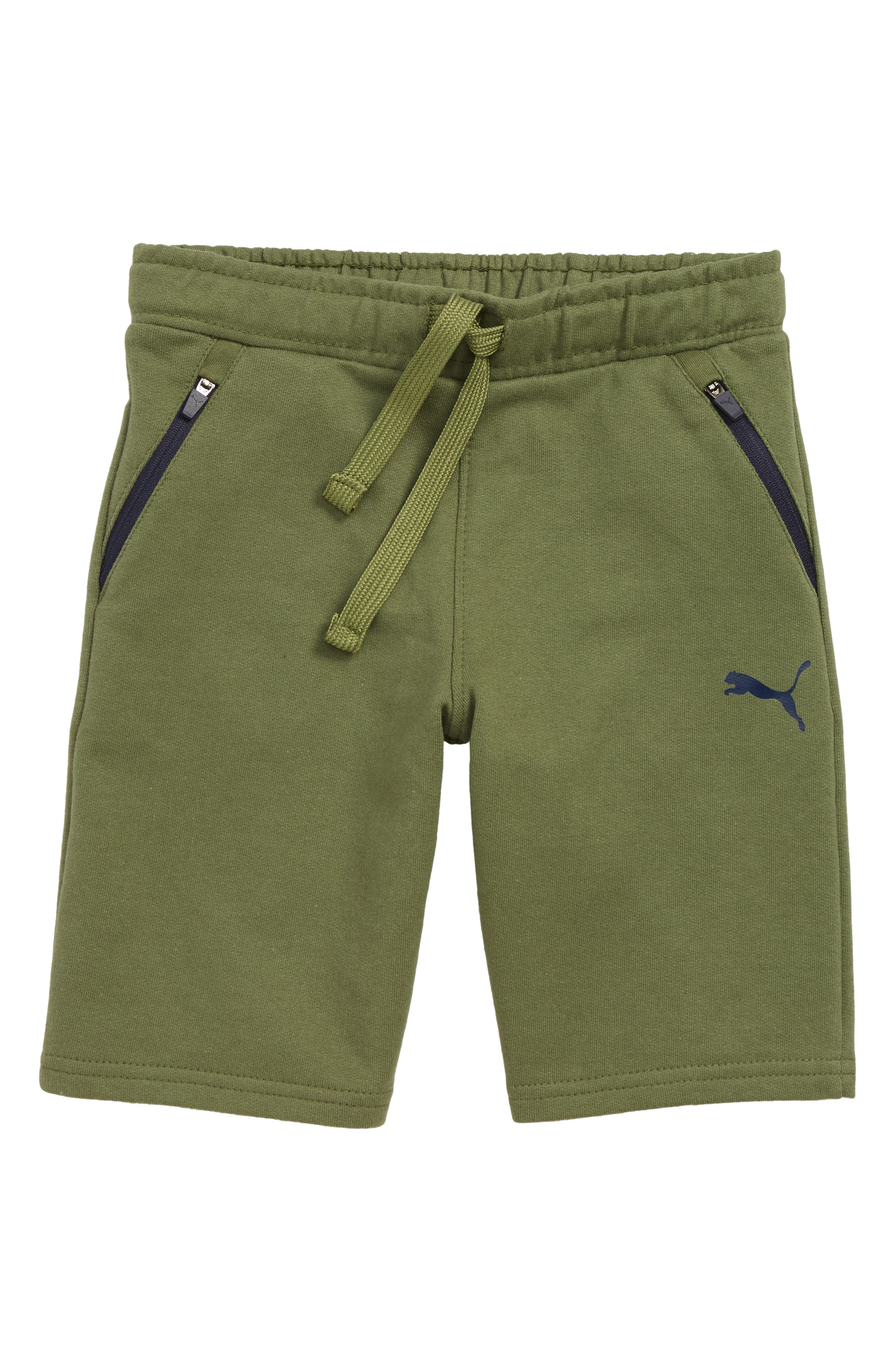 Zip Pocket French Terry Shorts, Main, color, OLIVINE