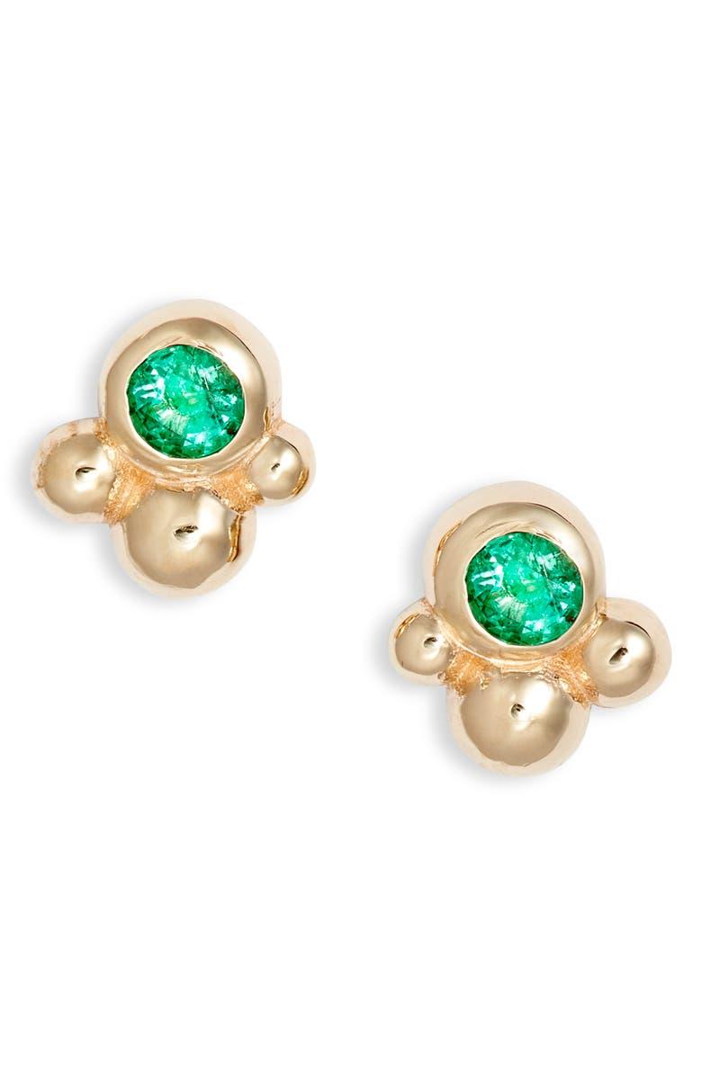 ANZIE Bonheur Bubbling Brook 14K Gold Stud Earrings, Main, color, YELLOW GOLD/ GREEN