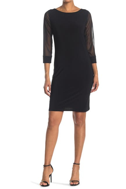 Image of TASH + SOPHIE Jersey 3/4 Glitter Neck Dress