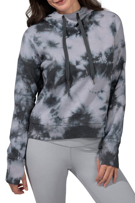 Image of 90 Degree By Reflex Brushed Tie Dye Cropped Hoodie