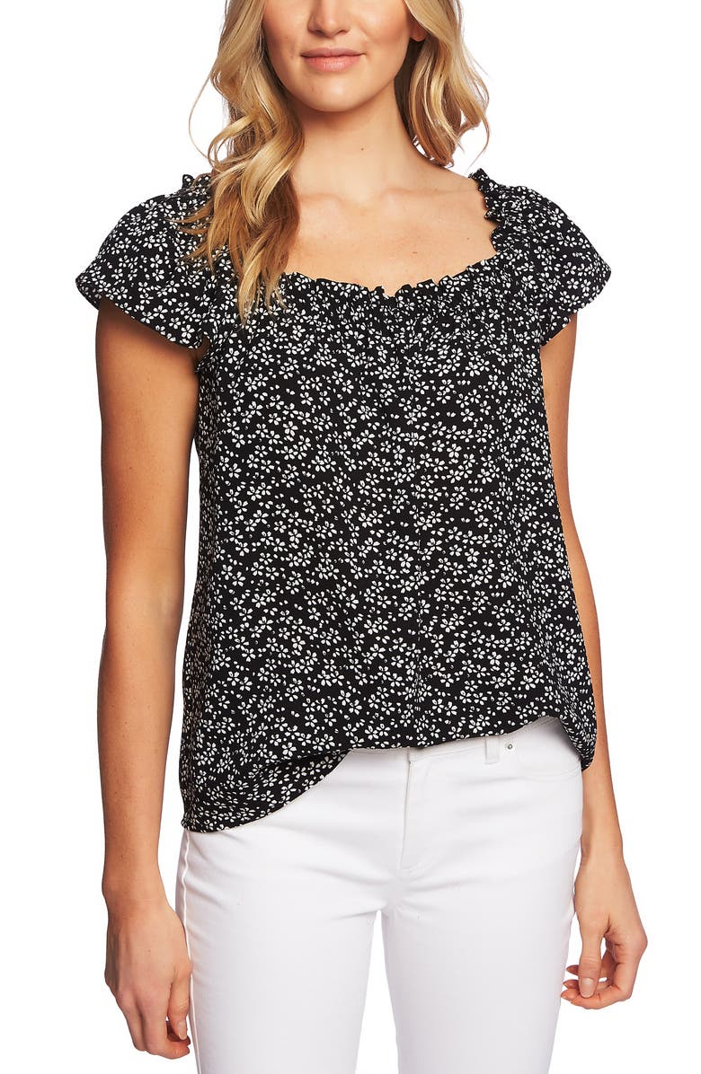 CECE Sakura Delight Floral Ruffle Top, Main, color, 006