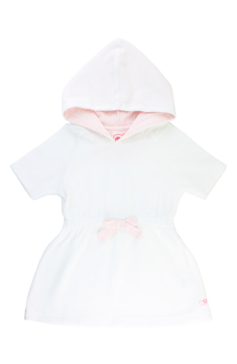 RUFFLEBUTTS French Terry Hooded Cover-Up Dress, Main, color, WHITE
