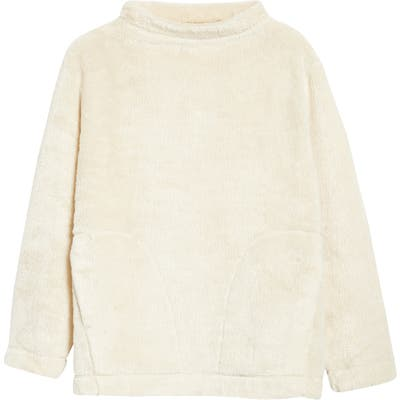 Eileen Fisher Funnel Neck Recycled Polyester Fleece Top, White (Unisex) (Nordstrom Exclusive)