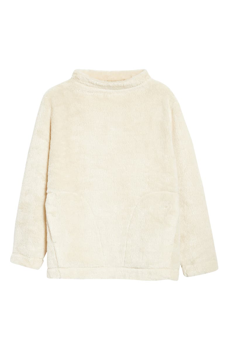 EILEEN FISHER Funnel Neck Recycled Polyester Fleece Top, Main, color, SOFT WHITE