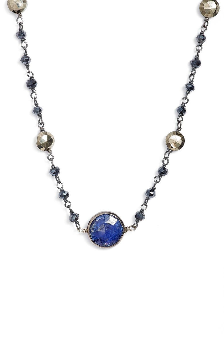 ELA RAE Semiprecious Stone Collar Necklace, Main, color, MYSTIC BLACK SPINEL/ SAPPHIRE