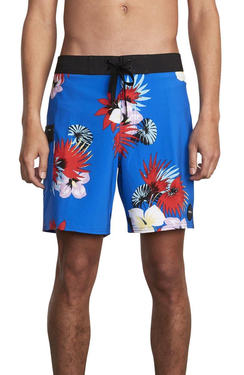 RVCA Higgins Print Board Shorts, Main, color, ROYAL
