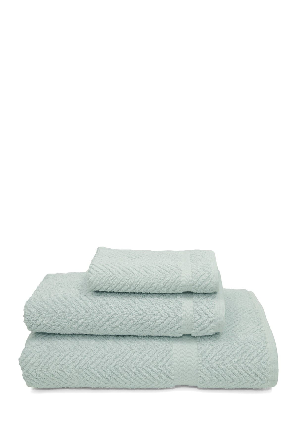 Image of LINUM HOME Aqua Blue Herringbone 3-Piece Towel Set