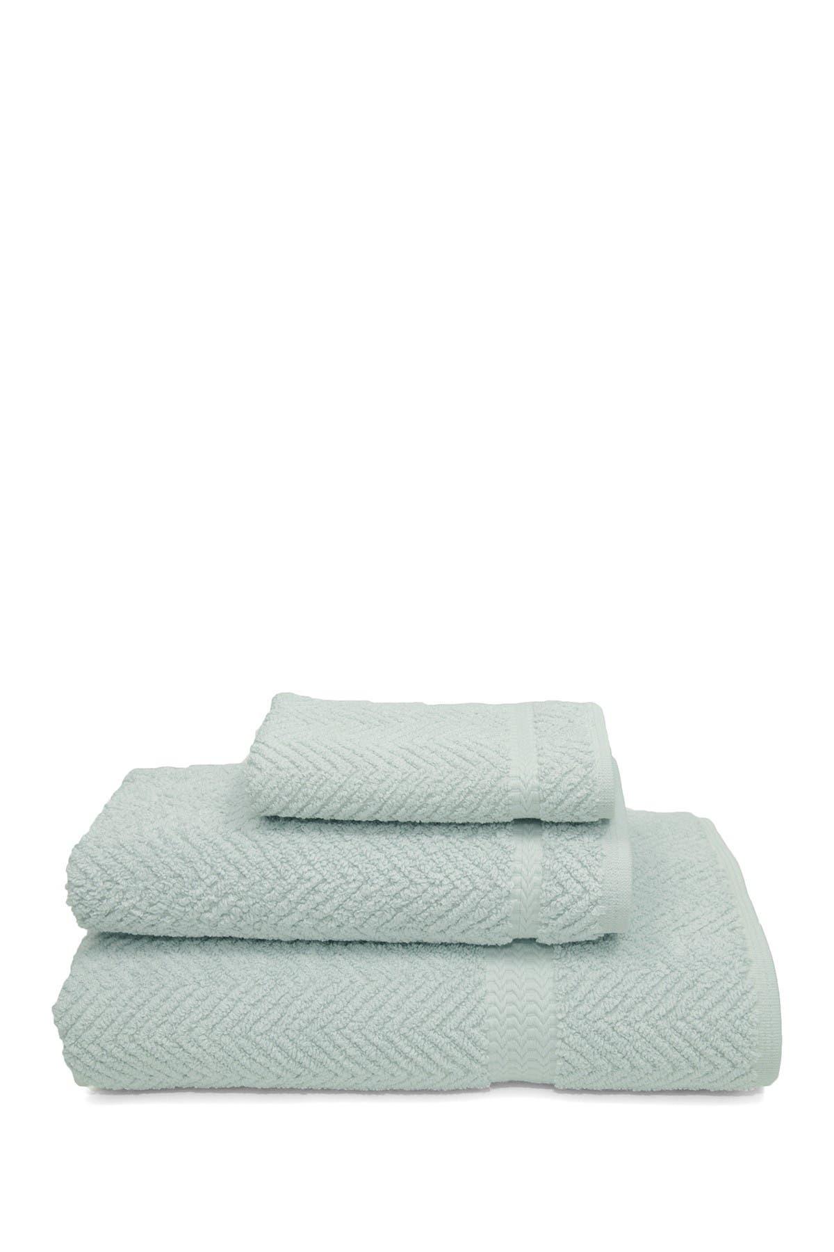 Linum Home Aqua Blue Herringbone 3 Piece Towel Set Nordstrom Rack
