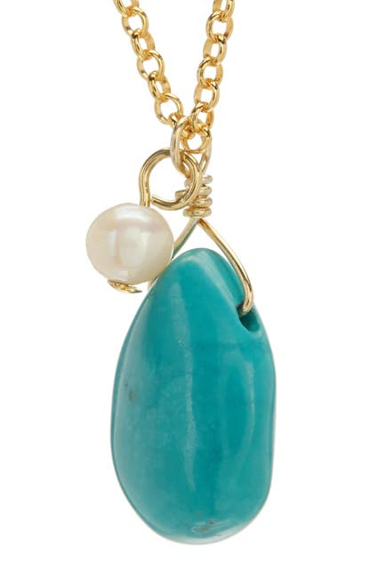 Image of Candela 14K Gold Vermeil Turquoise & 3.5mm Freshwater Pearl Drop Necklace