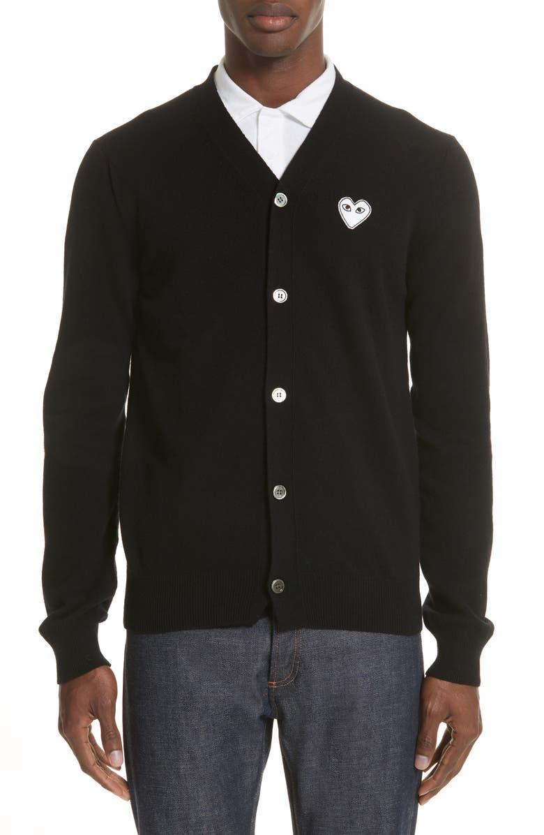 COMME DES GARÇONS PLAY White Heart Wool Cardigan, Main, color, BLACK