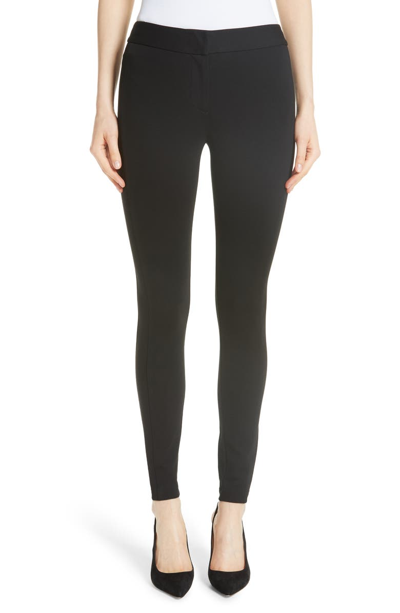 EMPORIO ARMANI Double Face Stretch Jersey Leggings, Main, color, BLACK