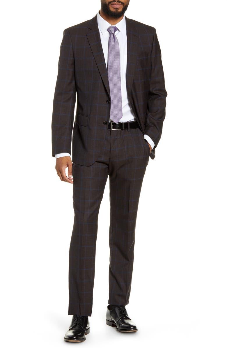 BOSS Huge/Genius Trim Fit Windowpane Wool Suit, Main, color, BROWN