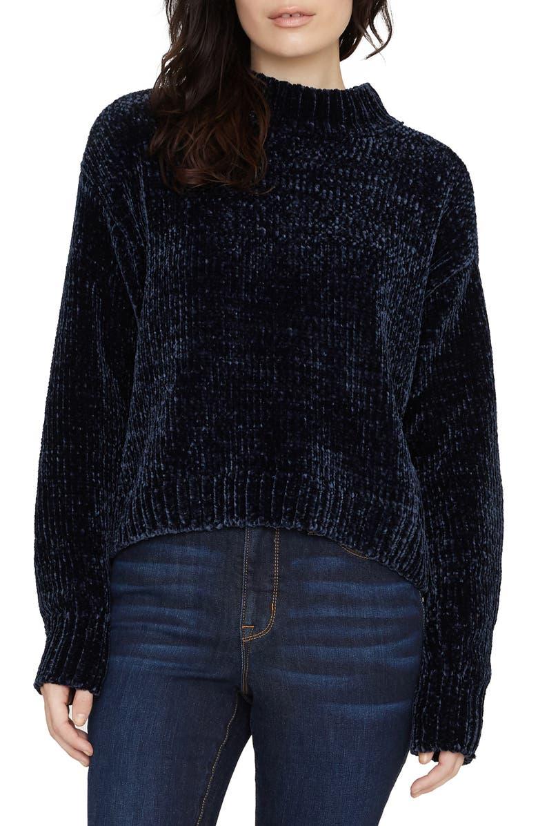 SANCTUARY Chenille Mock Neck Sweater, Main, color, NOCTURNE
