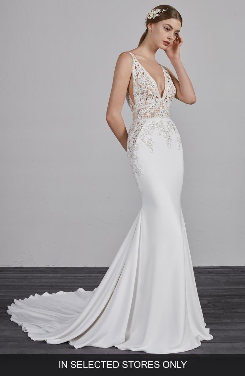 PRONOVIAS Emily V-Neck Mermaid Gown, Main, color, OFF WHITE