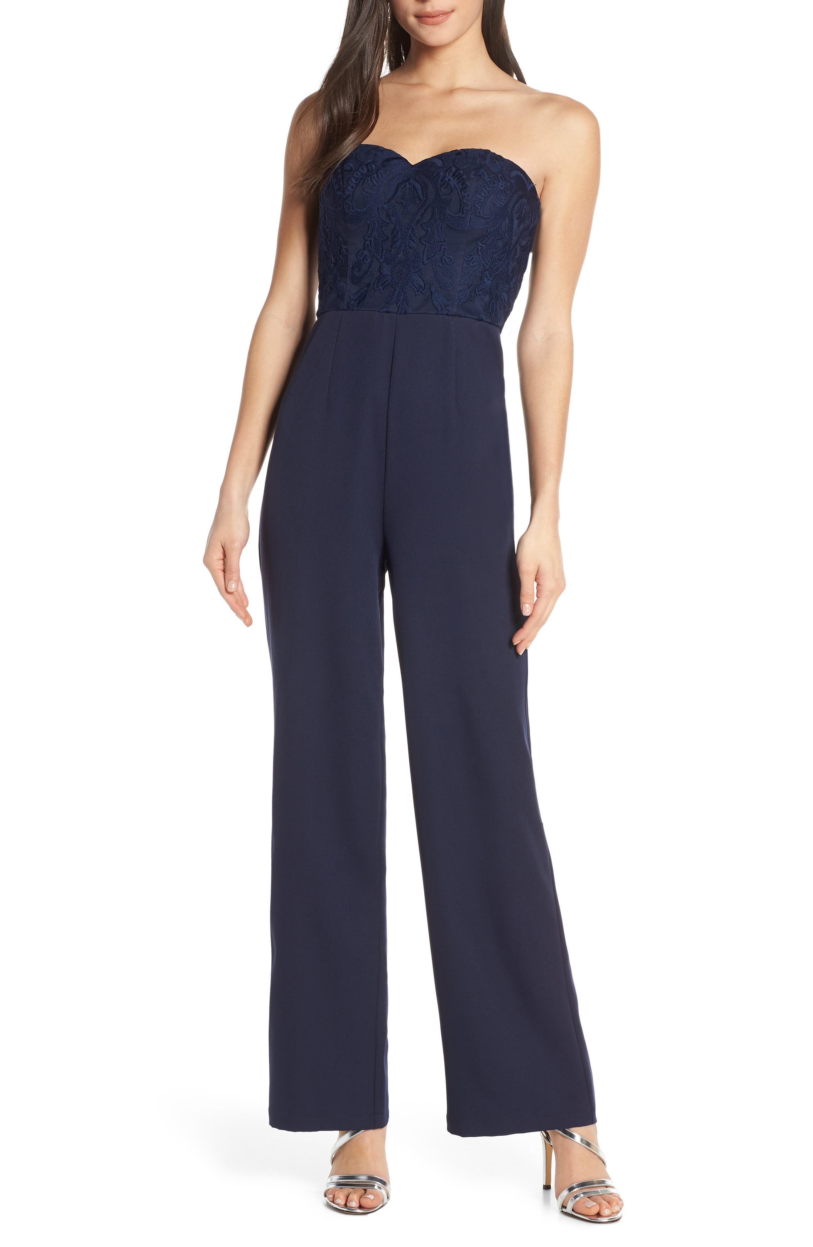 Chi Chi London Naomi Embroidered Bodice Strapless Jumpsuit, Blue