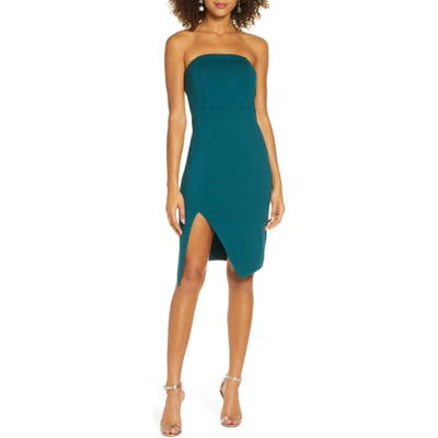 Lulus Strapless Cocktail Sheath Dress, Green