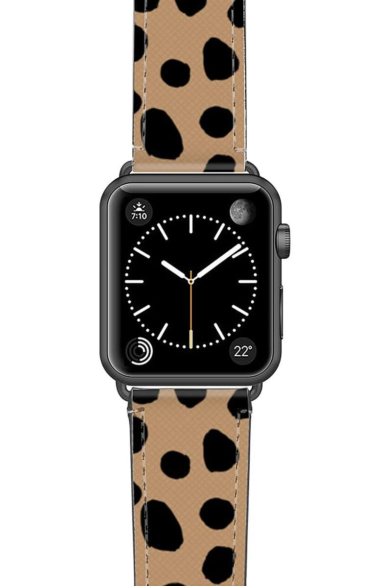 CASETIFY Cheetah Dots Saffiano Faux Leather Apple Watch<sup>®</sup> Strap, Main, color, CHEETAH/ SPACE GREY
