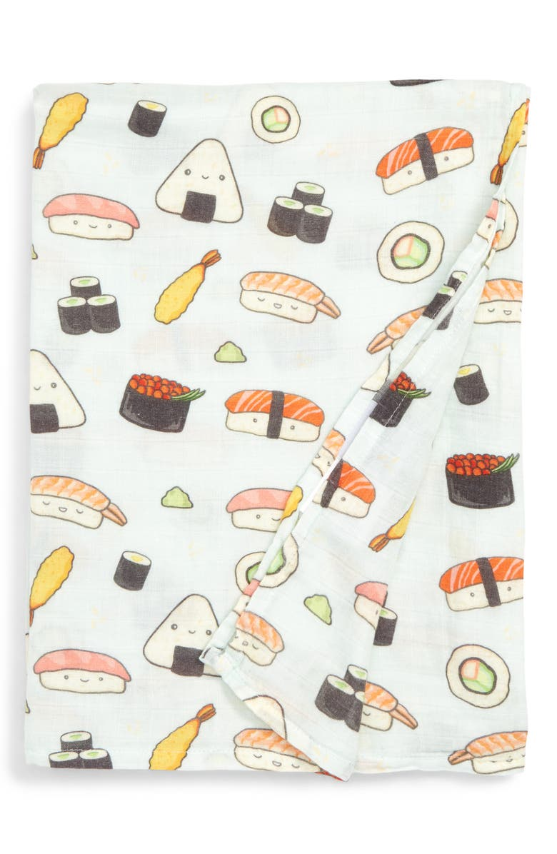 LOULOU LOLLIPOP Sushi Deluxe Muslin Swaddle Blanket, Main, color, SUSHI