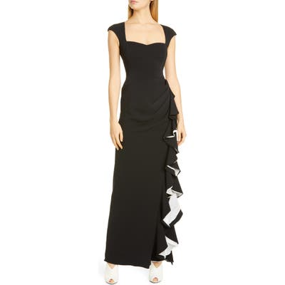 Badgley Mischka Cap Sleeve Ruffle Evening Dress
