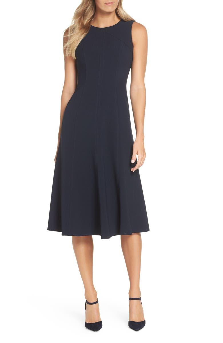 ELIZA J Sleeveless Midi Dress, Main, color, NAVY