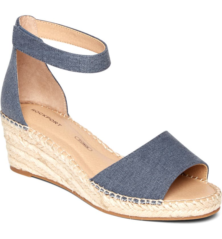 ROCKPORT Marah Two-Piece Ankle Strap Sandal, Main, color, DEMIN SUEDE