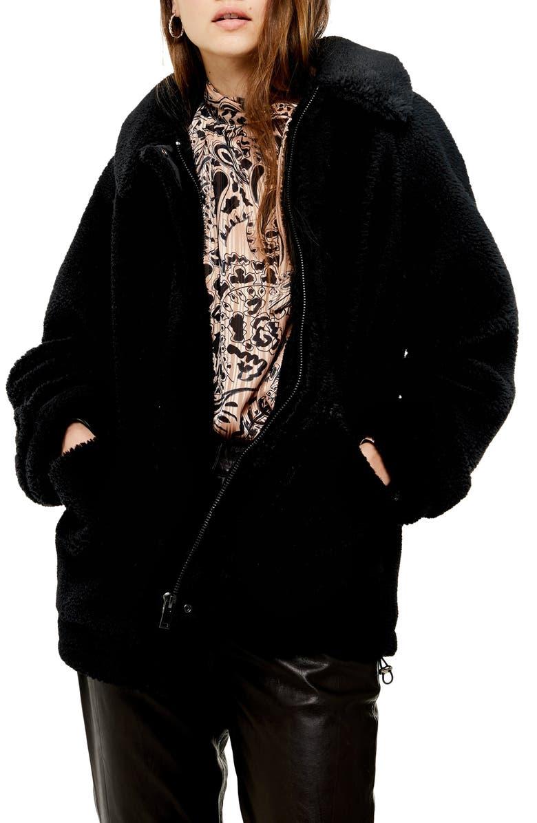 TOPSHOP Fleece Jacket, Main, color, 001