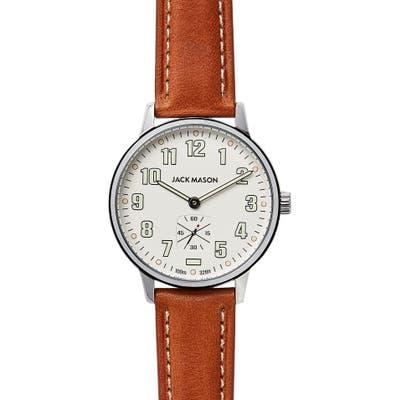 Jack Mason Field Leather Strap Watch,