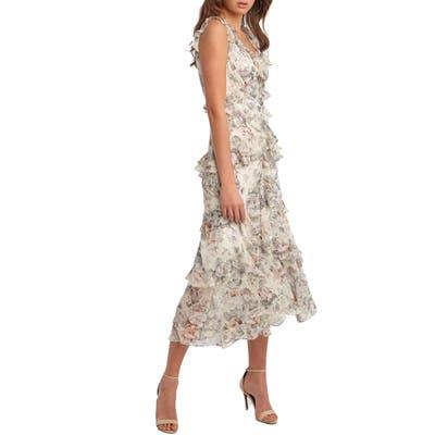 Bardot Nelly Floral Print Midi Dress, Ivory