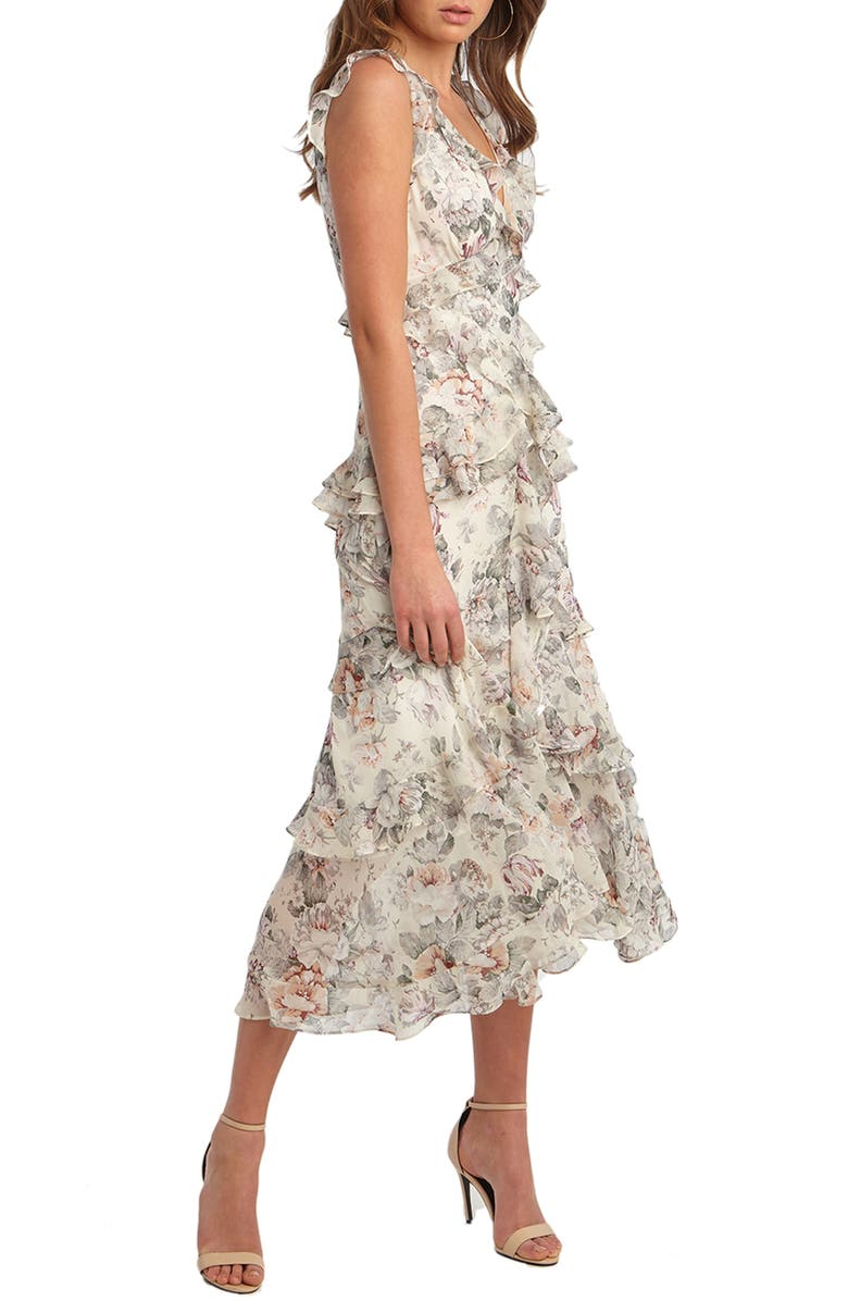 BARDOT Nelly Floral Print Midi Dress, Main, color, IVORY FLORAL