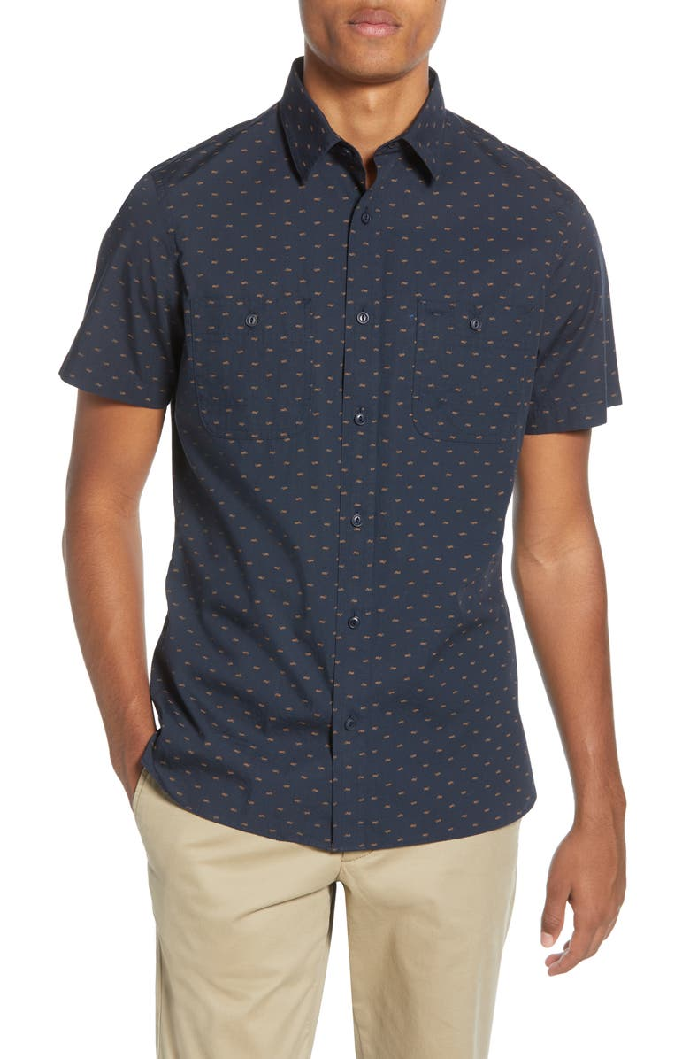 1901 Trim Fit Short Sleeve Button-Up Shirt, Main, color, NAVY RUST MOTORCYCLES