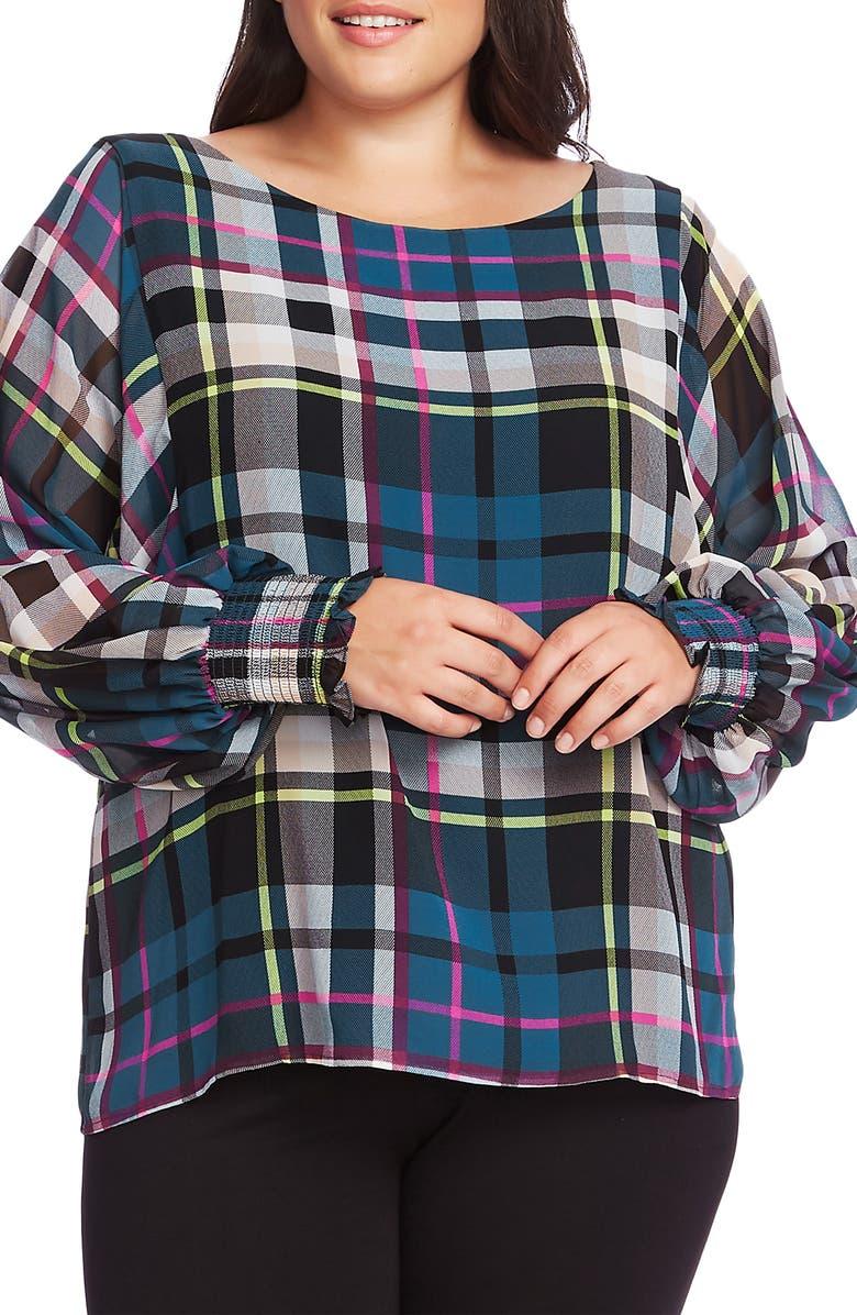 VINCE CAMUTO Plaid Chiffon Blouse, Main, color, DEACON BLUE