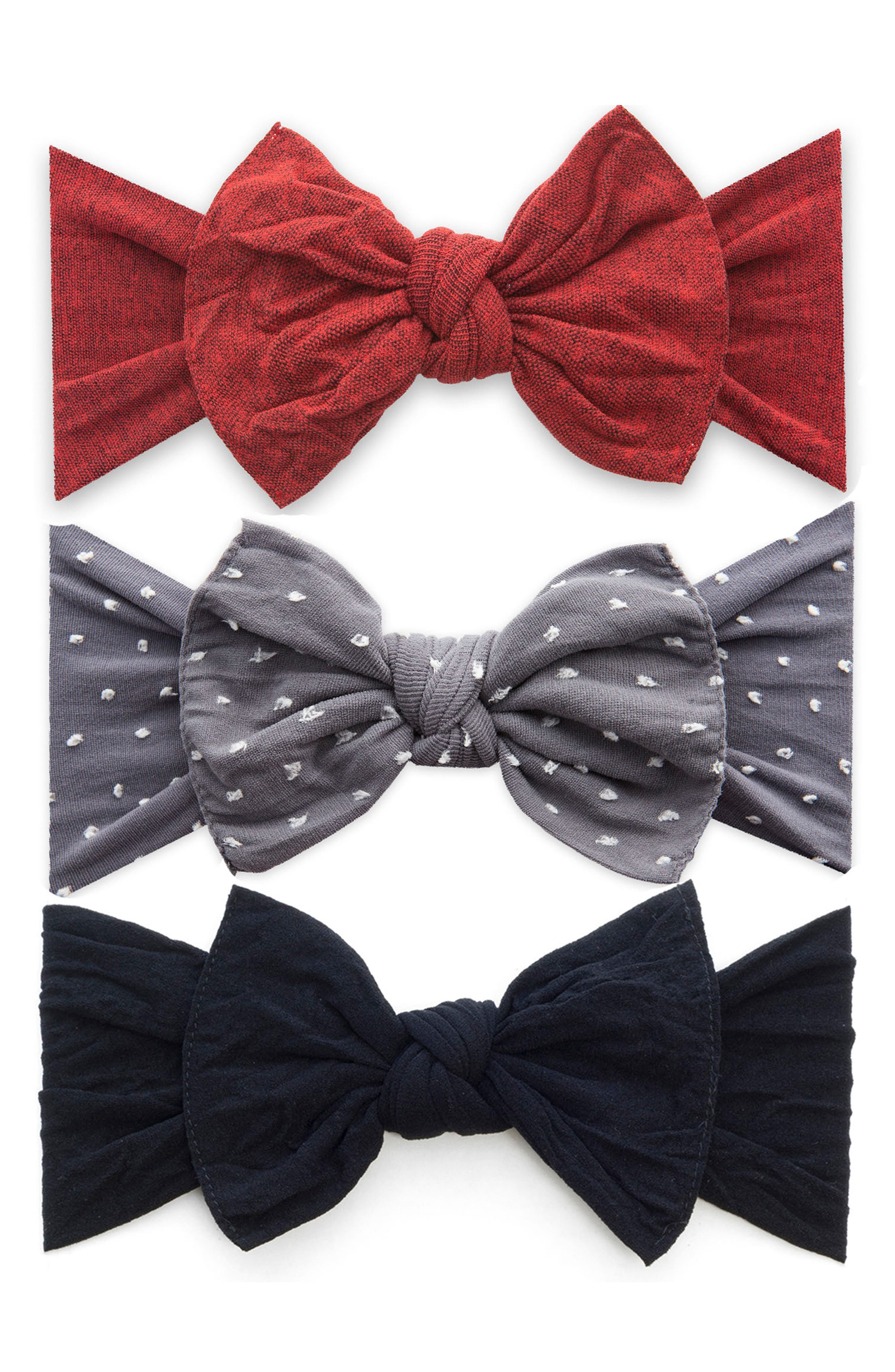 Baby Bling 3Pack Heathered Bow Stretch Headbands Size One Size  Red