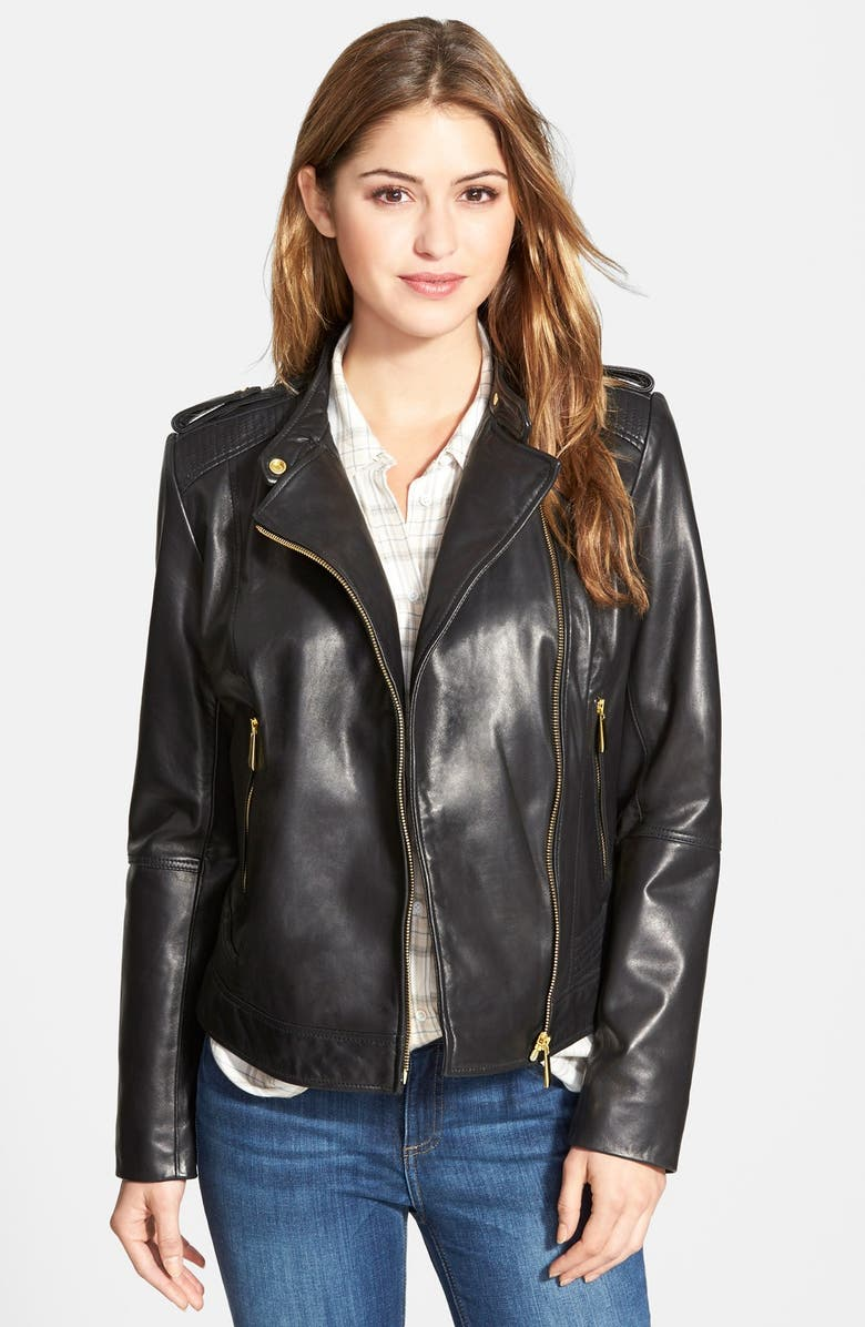 BERNARDO Asymmetrical Zip Leather Moto Jacket, Main, color, 001