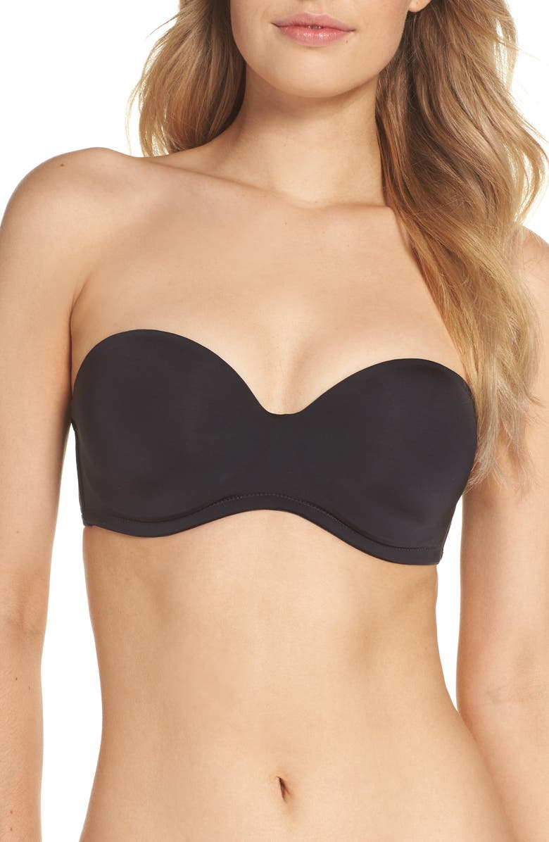 NATORI Underneath Underwire Strapless Bra, Main, color, BLACK
