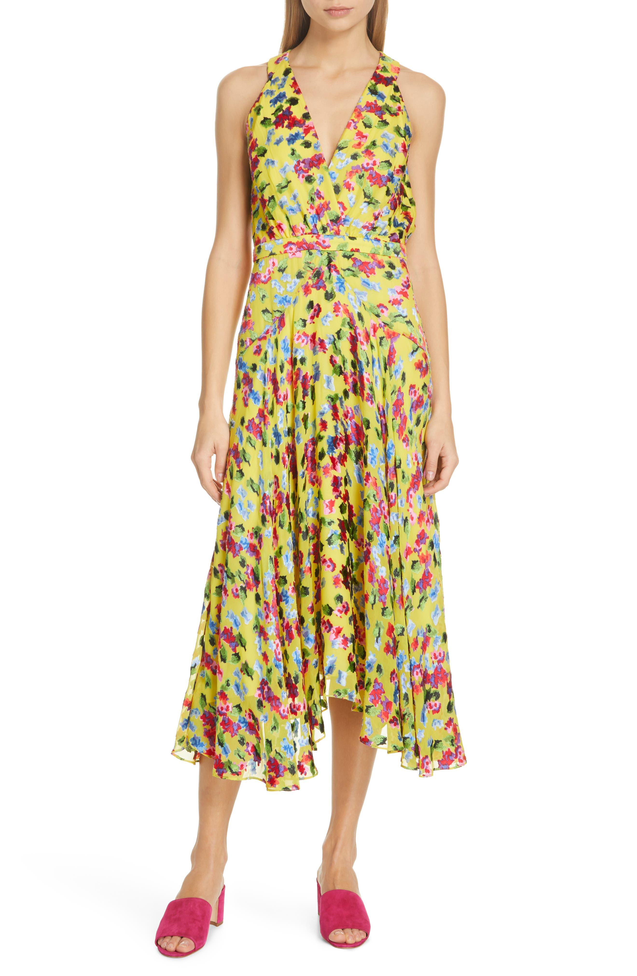 Saloni Rita Floral Print Shark Bite Hem Midi Dress, Yellow