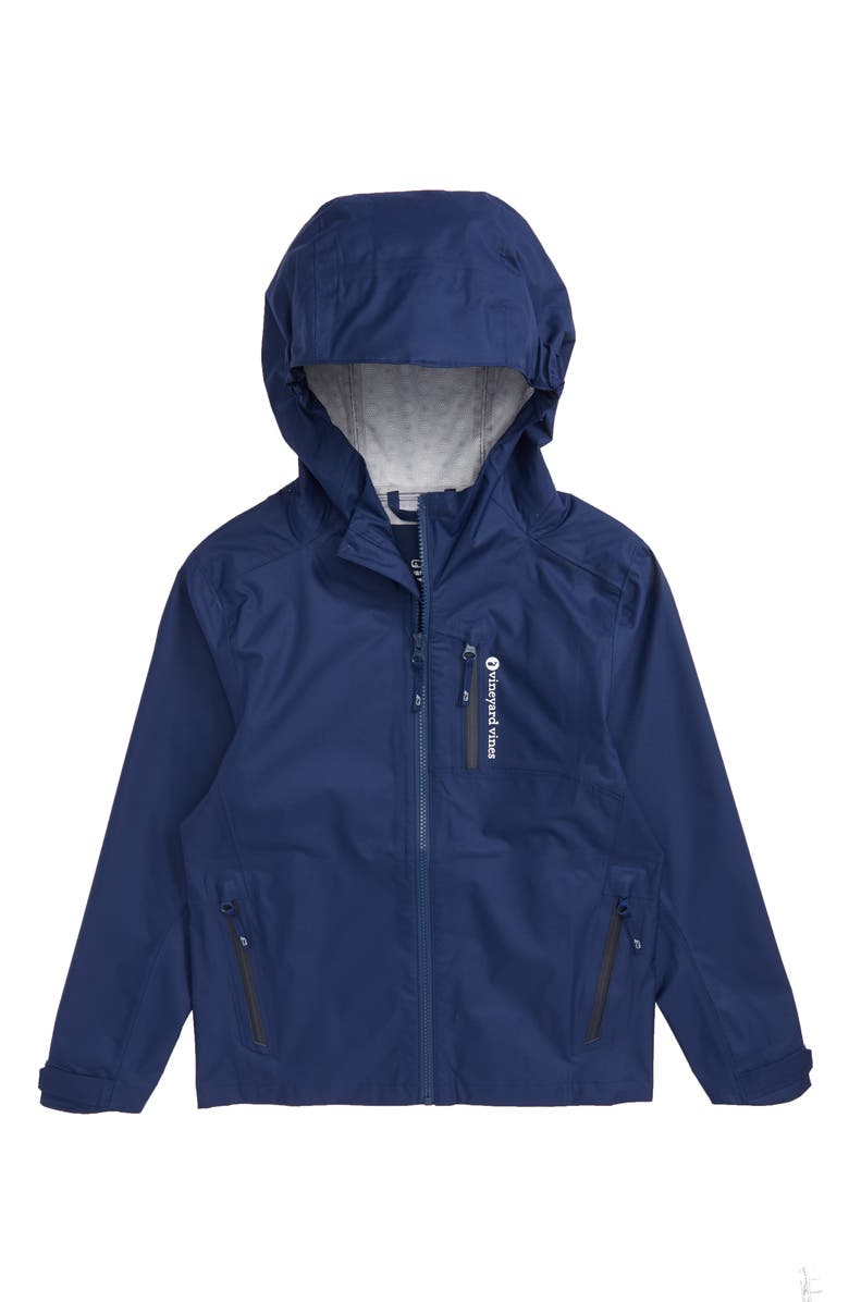 VINEYARD VINES New Hooded Rain Jacket, Main, color, DEEP BAY