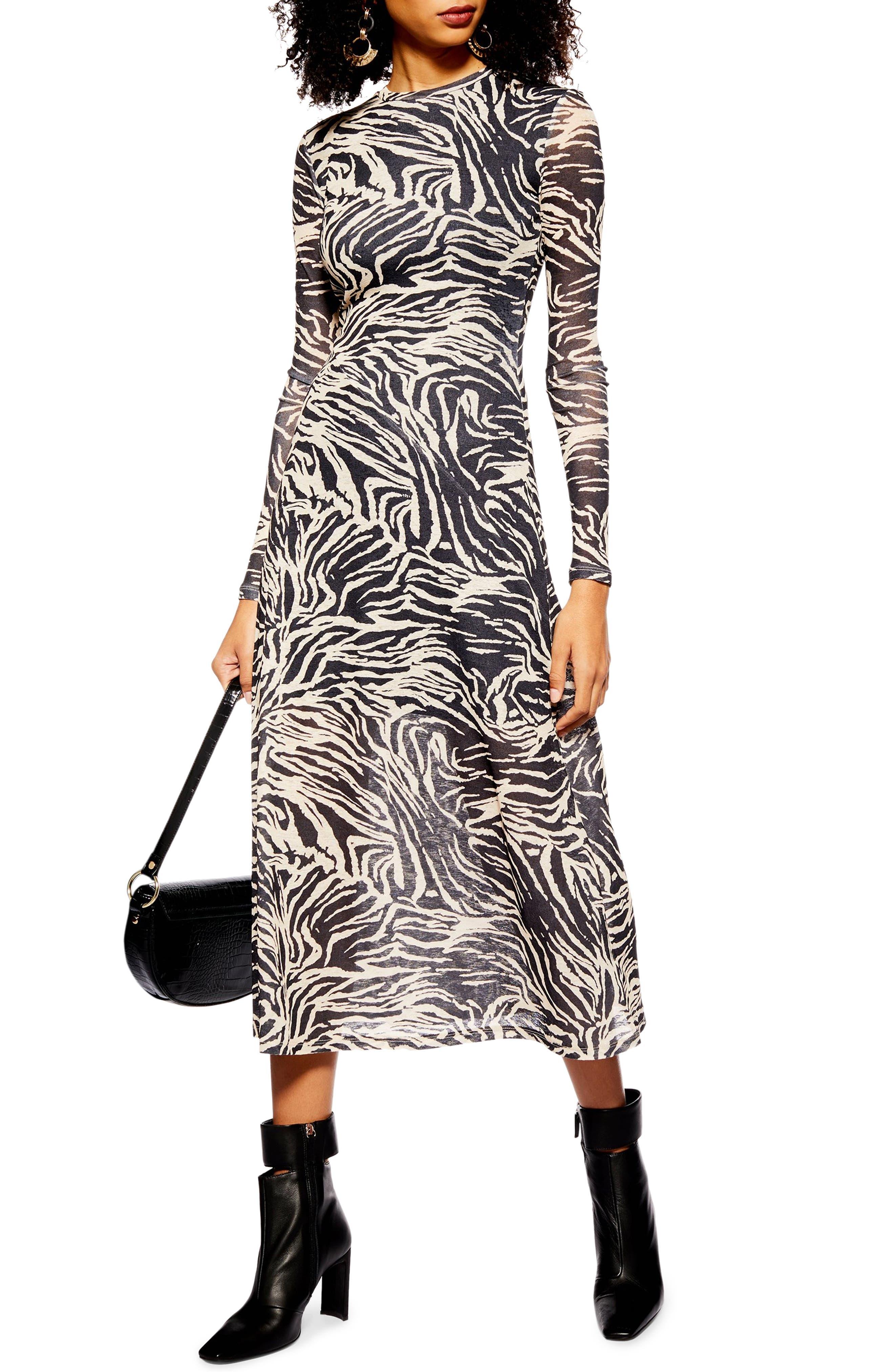 Topshop Zebra Mesh Midi Dress